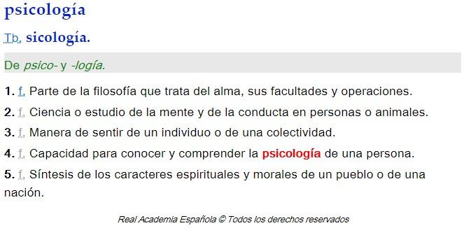Concepto Psicología RAE