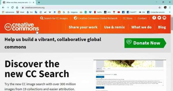 Imagen de la página de inicio del sitio web de Creative Commons